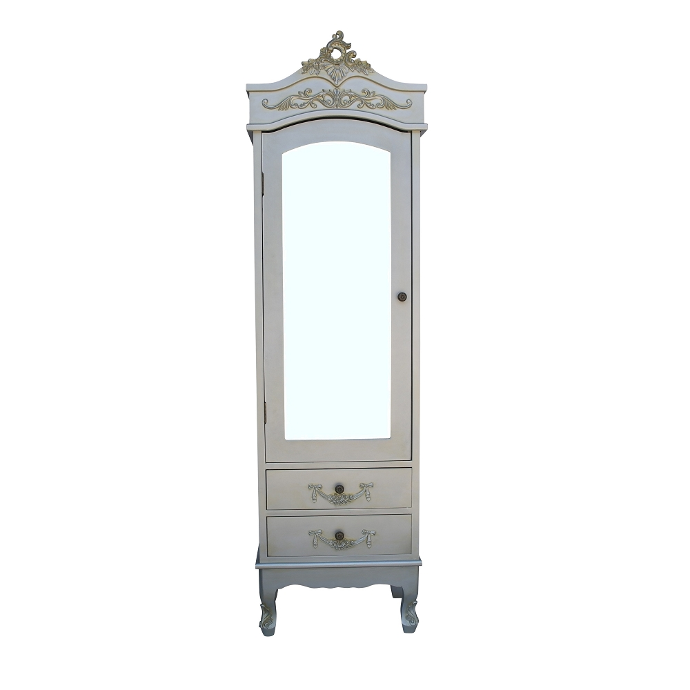 French Antiqued Silver Armoire with Drawers
