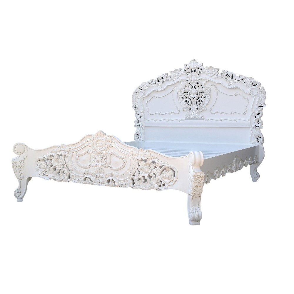 Rococo 5ft King Size Mahogany Carved White Painted Bed