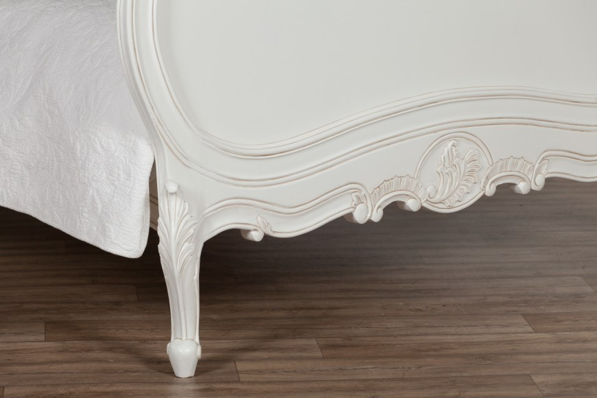 French Chateau 4ft6 Double Size Solid Wooden Mahogany White Painted Bed