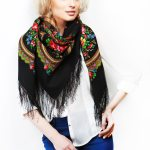 Black fringed scarf in Russian style