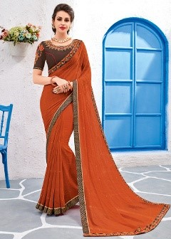 Indian georgette partywear saree