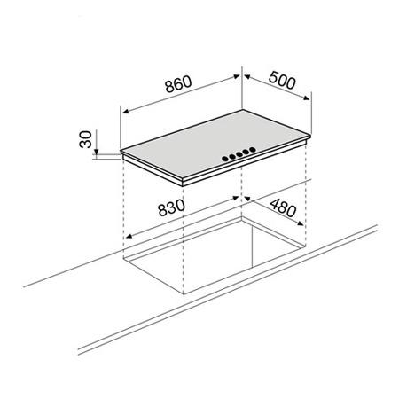Technical drawing Gas Hob 90 cm - GT951HIX - Glem Gas