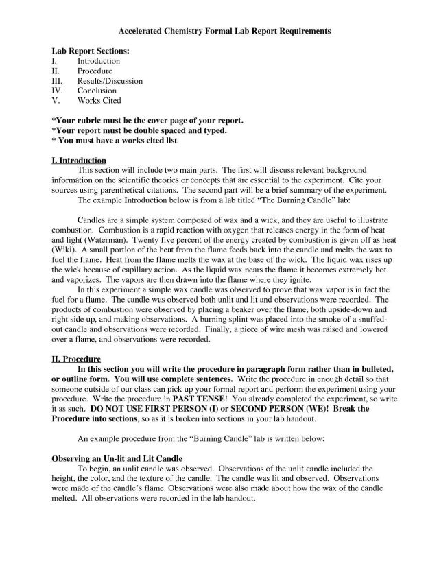 chemistry lab report introduction example