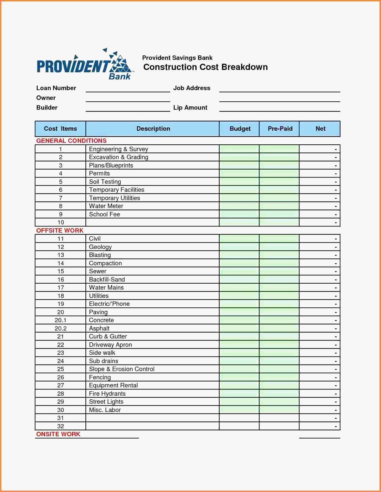 Home Renovation Worksheet