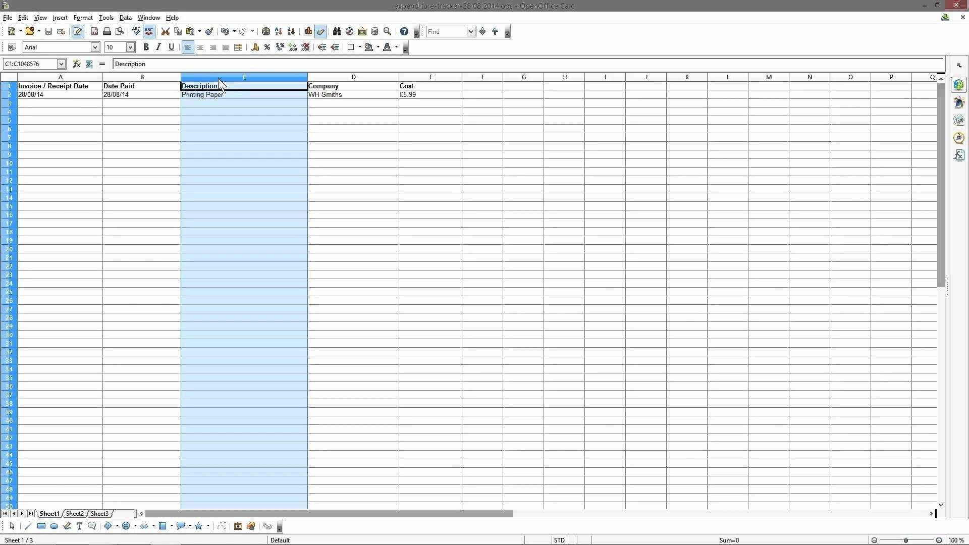Photography Accounting Spreadsheet