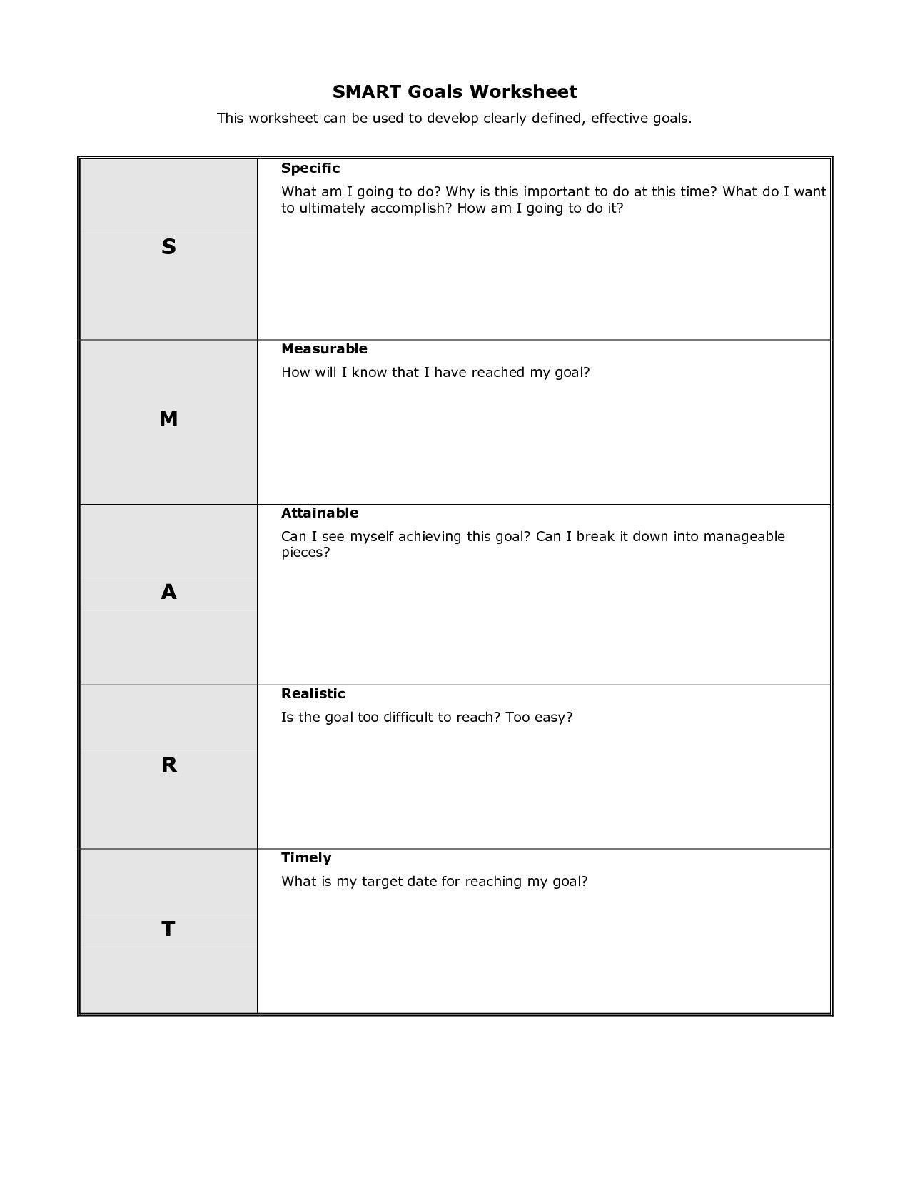 Smart Goals Template Excel