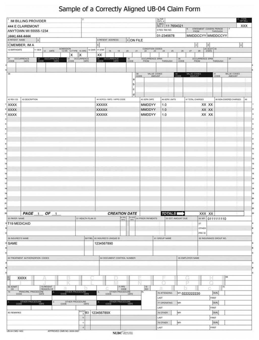 Ub 04 Form Sample