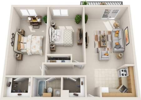 2 Bed / 1 Bath / 865 sq ft / Rent: $1,295