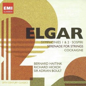 Artwork for the 2 CD collection of Elgar's two symphonies and Pomp & Circumstance No. 5 conducted by Bernard Haitink with the Philharmonia Orchestra.