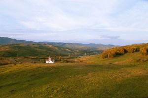 Picture of a small church outside Valea Plopului, Romania.