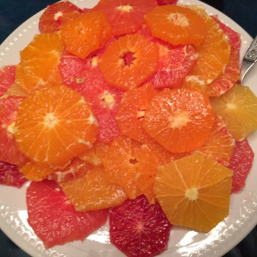 The citrus salad from last night's dinner. I got a little carried away with the number of varieties, but it seems like the more varieties, the more interesting it gets.