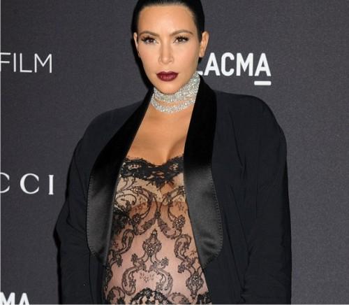 Ким Кардашьян надела «голое» платье, находясь на 8-м месяце беременности