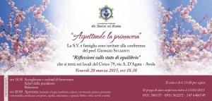 """Conviviale e conferenza del prof. Giorgio Sulsenti """"Riflessioni sullo stato di equilibrio"""""""