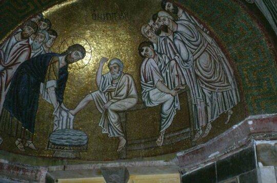 Mosaico della Lavanda dei piedi nel monastero di Ossios Loukas (secolo XI)