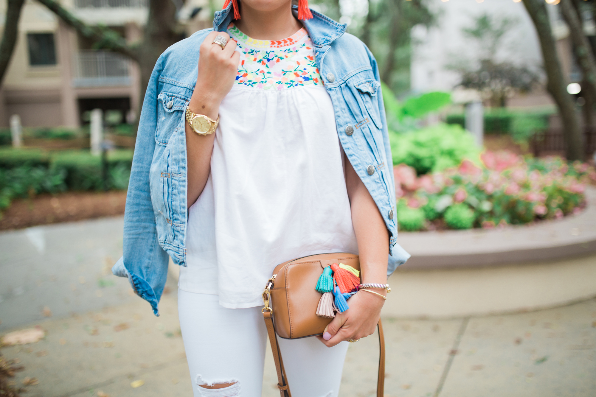 Embroidered Tank Top / Rebecca Minkoff Bag