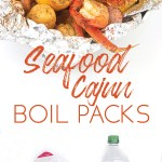 photo collage of ingredients to make seafood cajun boil packs and a final product picture