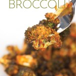 a white bowl of cooked broccoli with sriracha sauce on a fork