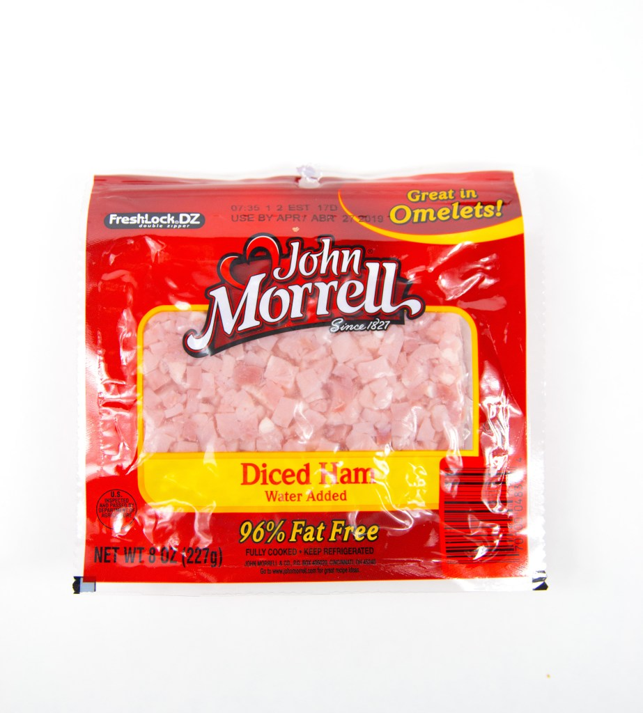 a package of john morrell diced ham thats in a red pouch