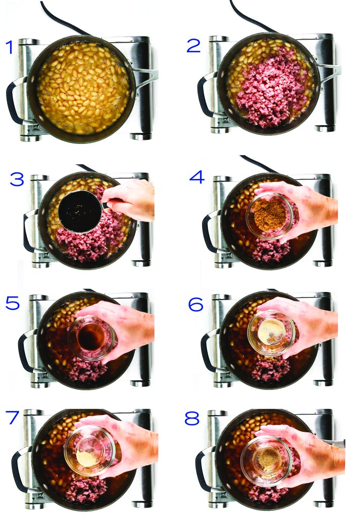 8 pictures of pouring ingredients into a pan