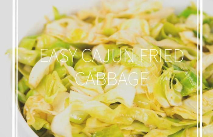 a white bowl of cajun fried cabbage with title