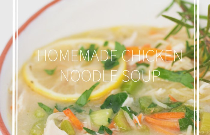 bowl of homemade chicken noodle soup with sliced lemons, parsley, and rosemary twig