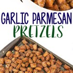 photo collage of garlic parmesan pretzels on a baking pan and in a white bowl