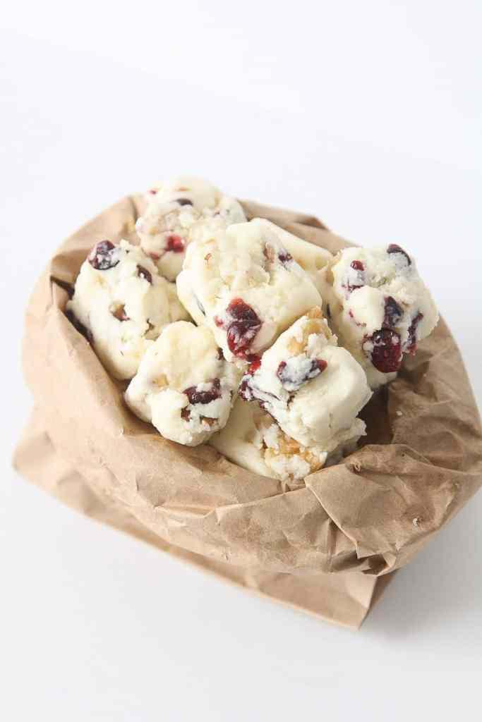 White chocolate cranberry walnut fudge