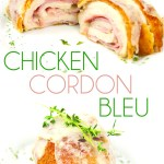 white plate of chicken cordon bleu with one sliced in half with ham and cheese
