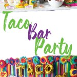 photo collage of streamer back drop with mexican flowers border wih taco twosday balloons with mexican food table