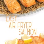 photo collage a glass plate of easy air fryer salmon pieces on top of brown rice with lemon on top of the salmon