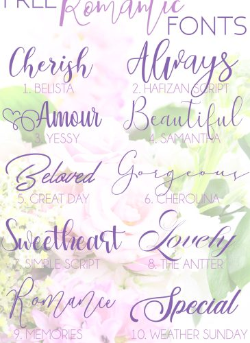a faded picture of flowers with different fonts for free romantic fonts