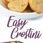 photo collage of toasted french baguette bread for easy crostini