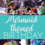 photo collage of food and decorations for a mermaid themed birthday