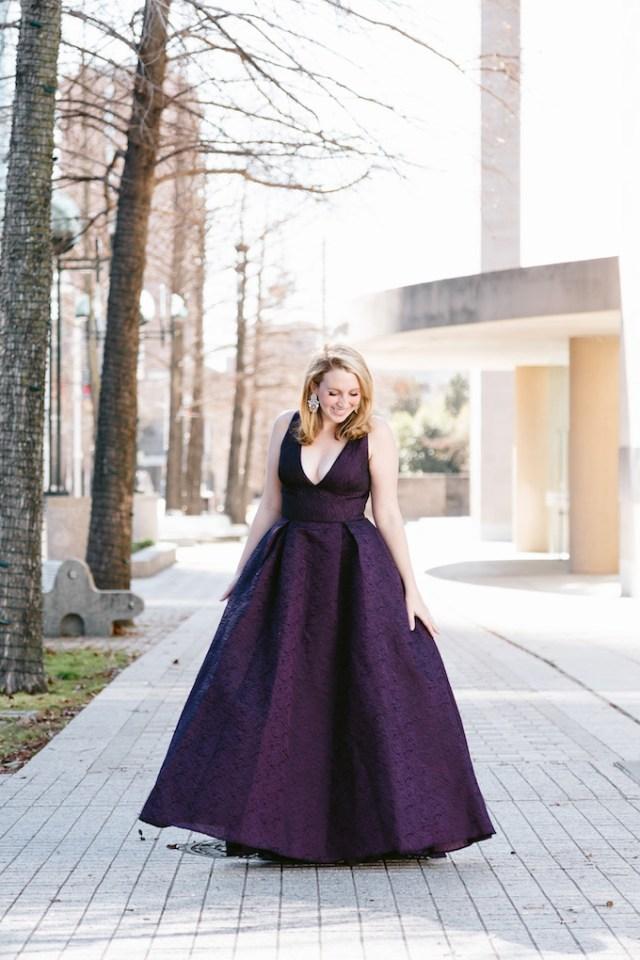 ML Monique Lhuillier Burgundy Center Stage Gown