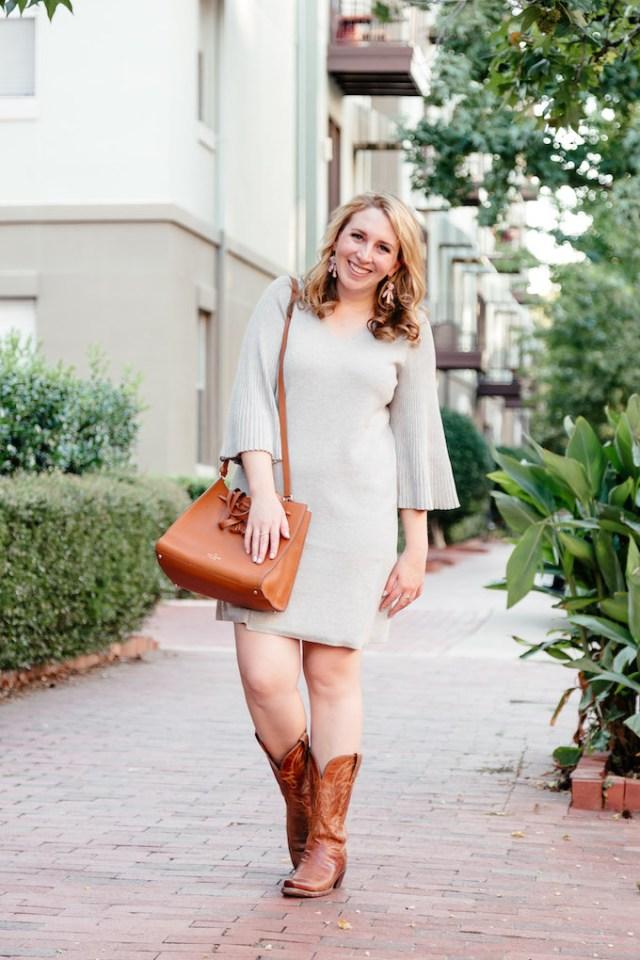 Bell-Sleeve Sweater Dress