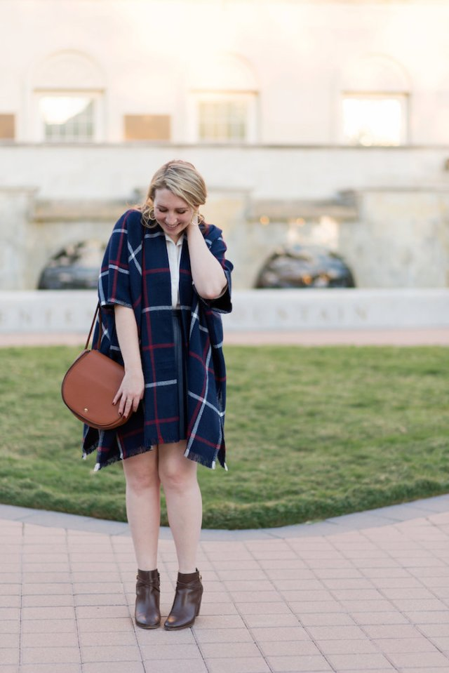 How to style a navy leather miniskirt as a preppy student
