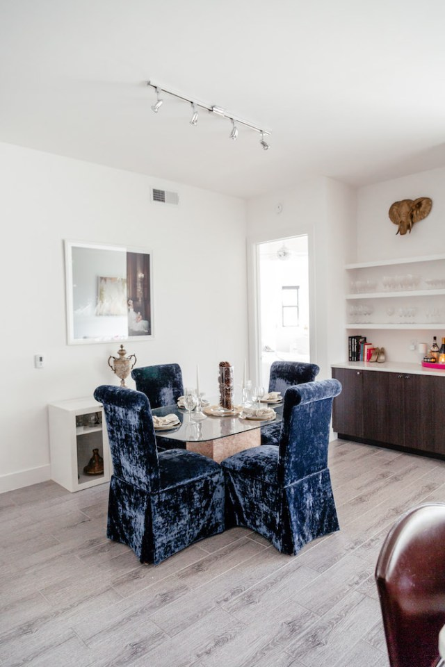 Girly Dining Room, Navy Velvet Dining Chairs, Pink Marble and Glass Dining Table