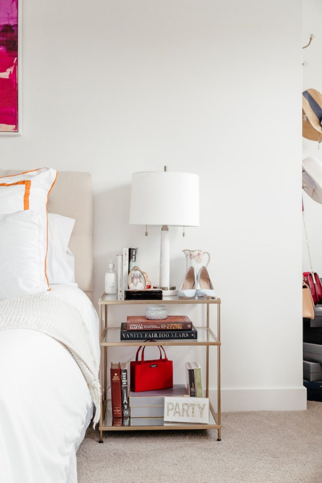 How to Create a Feminine Bedroom, How to Style a Nightstand, Gold and Glass Nightstands