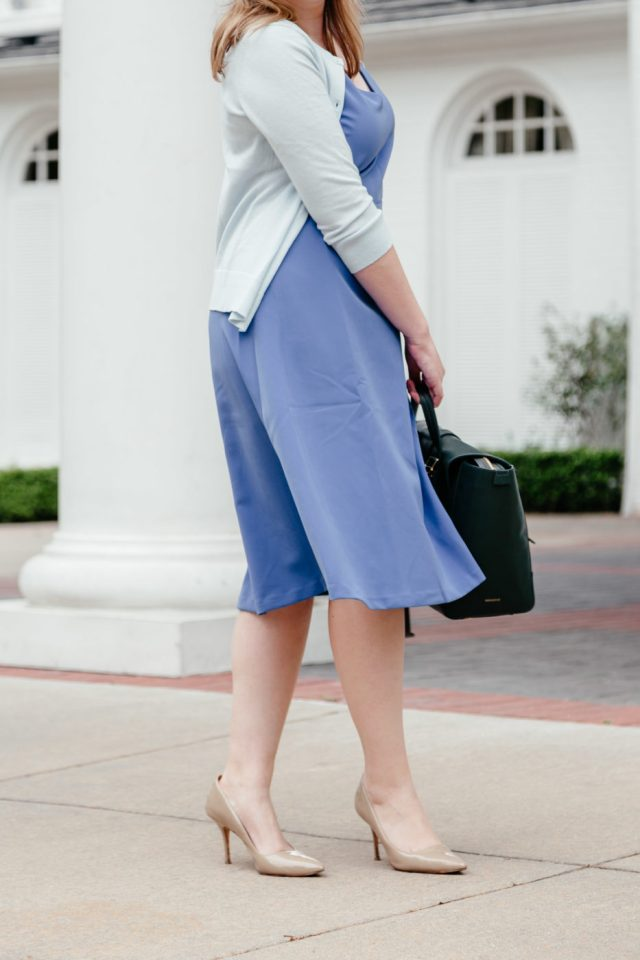Blue Dress to Wear to Work | Best Dress Silhouettes for Work | Comfy Heels to Wear to Work | Comfy Nude Heels via Amanda Kushner of Glitter & Spice