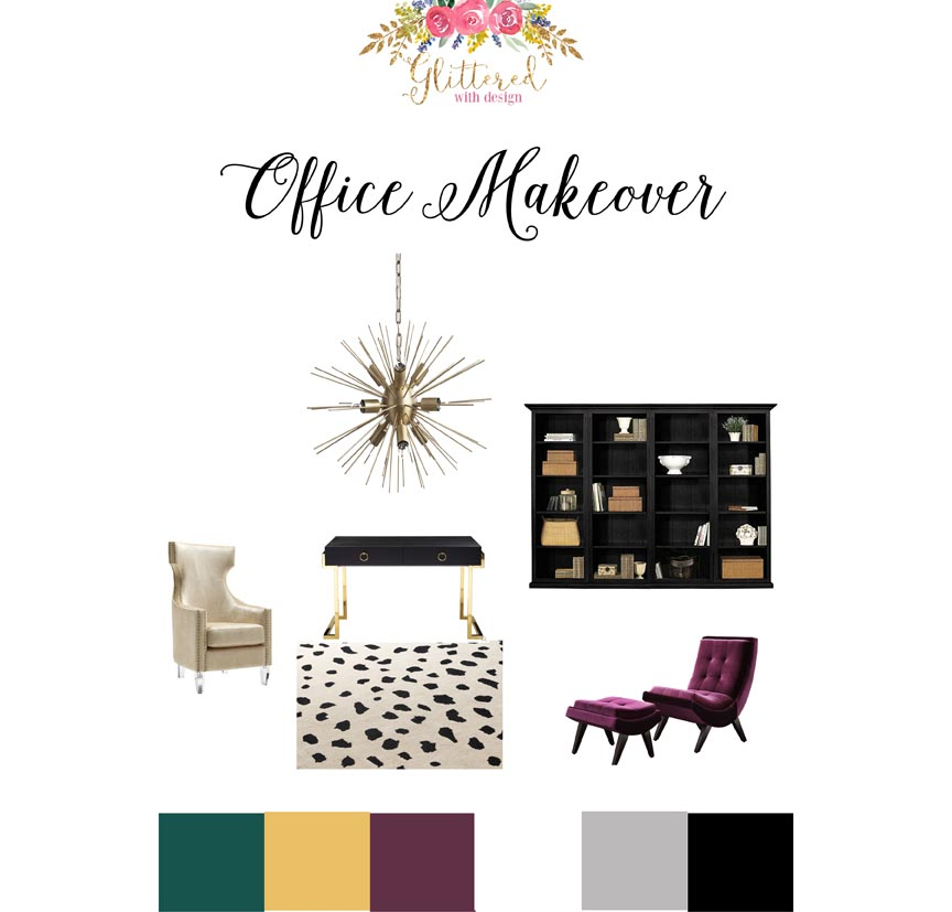 Glittered with Design Office Makeover - Teal, Gold, Black, white, Purple Glam Office