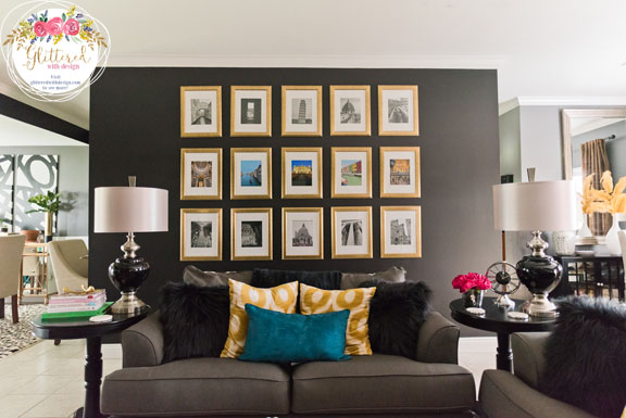 Black Walls Rejoice - Glittered with Design Living Room Makeover
