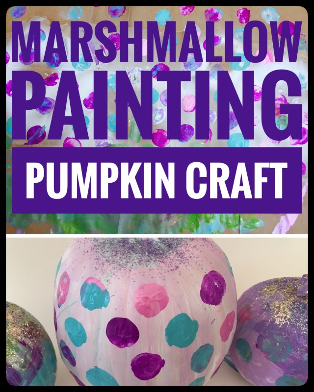 Painting Polka Dot Pumpkins with Marshmallows