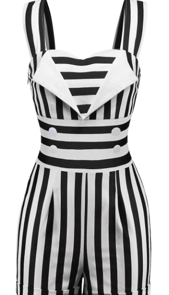 Sweetheart Neck Striped Romper