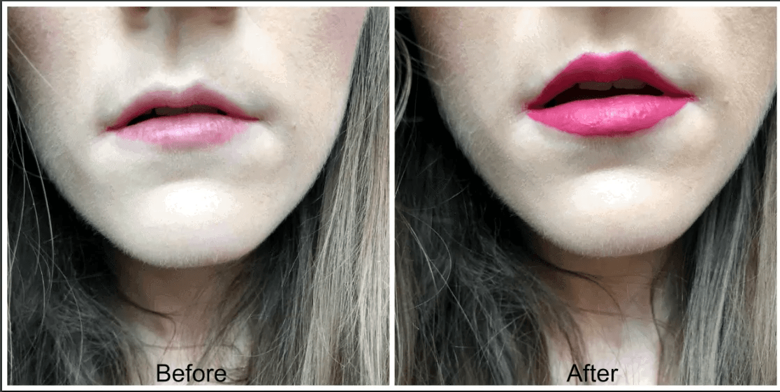 rimmel stay matte before and after liquid lipstick in heartbeat
