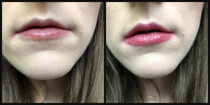 7 days of lipstick mua sweet sheen lip balm in cherry bomb before and after