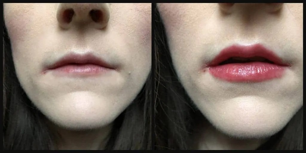 7 days of lipstick mua sweet sheen lip balm in rouge rumba before and after