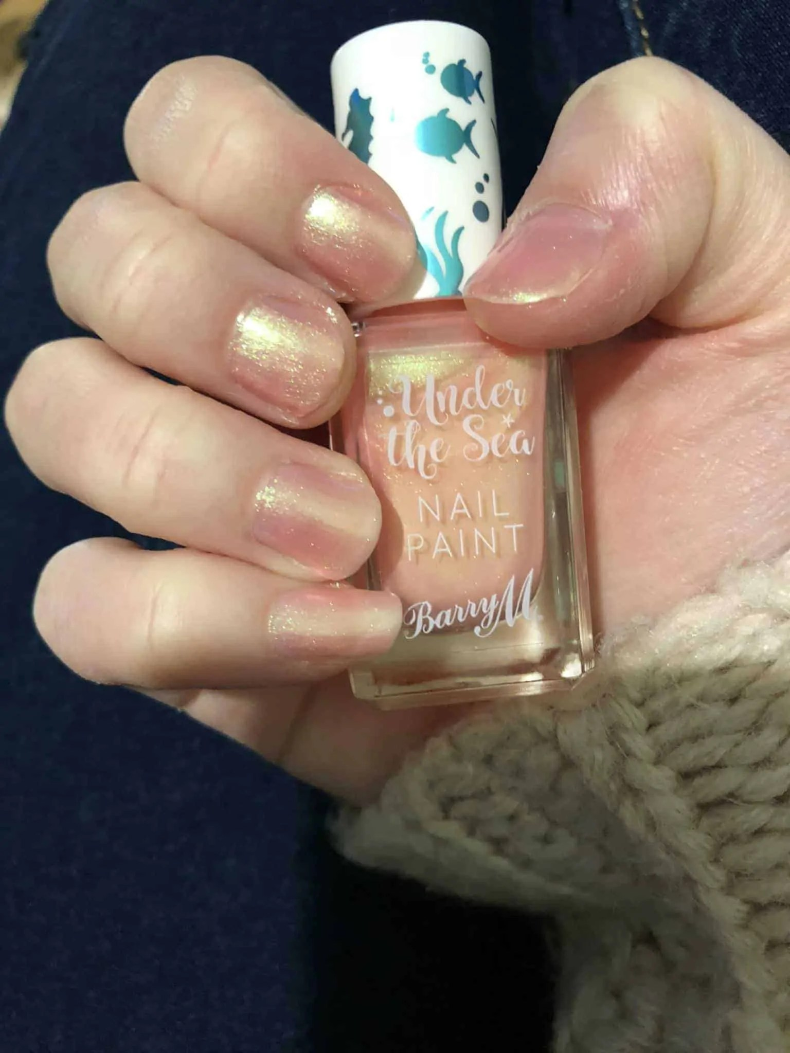 barry m under the sea nail varnish pinktail wearing