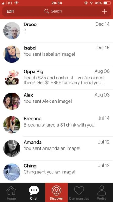 The money making app that pays you to share a selfie chat
