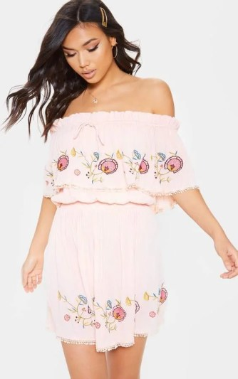 prettylittlething peach embroidered dress