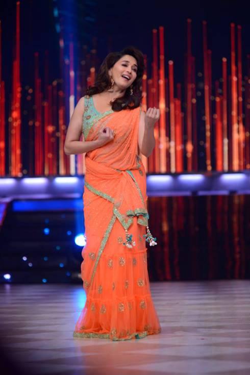 Madhuri Dixit Saree blue and orange